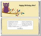 Retro Owl - Personalized Birthday Party Candy Bar Wrappers
