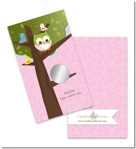 Owl - Look Whooo's Having A Girl - Baby Shower Scratch Off Game Tickets