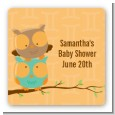 Owls | Gemini Horoscope - Square Personalized Baby Shower Sticker Labels thumbnail