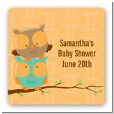 Owls | Gemini Horoscope - Square Personalized Baby Shower Sticker Labels