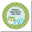Owl - Look Whooo's Having Twin Boys - Round Personalized Baby Shower Sticker Labels thumbnail