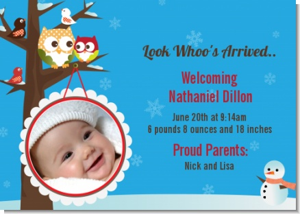 Owl - Winter Theme or Christmas - Birth Announcement Photo Card