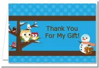 Owl - Winter Theme or Christmas - Baby Shower Thank You Cards