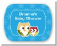 Owl - Winter Theme or Christmas - Personalized Baby Shower Rounded Corner Stickers thumbnail