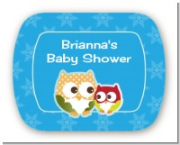 Owl - Winter Theme or Christmas - Personalized Baby Shower Rounded Corner Stickers