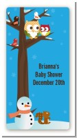 Owl - Winter Theme or Christmas - Custom Rectangle Baby Shower Sticker/Labels