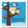 Owl - Winter Theme or Christmas - Personalized Baby Shower Card Stock Favor Tags thumbnail