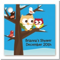 Owl - Winter Theme or Christmas - Personalized Baby Shower Card Stock Favor Tags