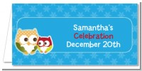 Owl - Winter Theme or Christmas - Personalized Baby Shower Place Cards