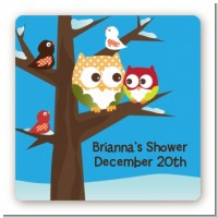 Owl - Winter Theme or Christmas - Square Personalized Baby Shower Sticker Labels