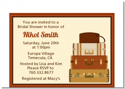 Pack Your Bags Destination - Bridal Shower Petite Invitations