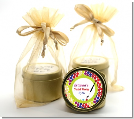 Paint Party - Birthday Party Gold Tin Candle Favors