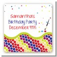 Paint Party - Square Personalized Birthday Party Sticker Labels thumbnail