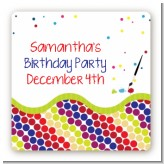 Paint Party - Square Personalized Birthday Party Sticker Labels