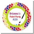 Paint Party - Round Personalized Birthday Party Sticker Labels thumbnail
