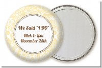 Pale Yellow & Brown - Personalized Bridal Shower Pocket Mirror Favors
