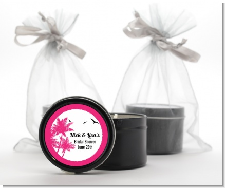 Palm Tree - Bridal Shower Black Candle Tin Favors