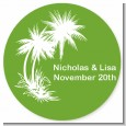 Palm Trees - Round Personalized Bridal | Wedding Sticker Labels thumbnail