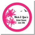 Palm Tree - Round Personalized Bridal Shower Sticker Labels thumbnail