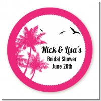 Palm Tree - Round Personalized Bridal Shower Sticker Labels