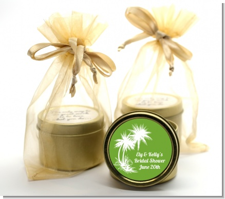 Palm Trees - Bridal Shower Gold Tin Candle Favors