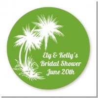 Palm Trees - Round Personalized Bridal Shower Sticker Labels