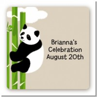 Panda - Square Personalized Baby Shower Sticker Labels