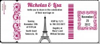 Paris - Bridal Shower Destination Boarding Pass Invitations