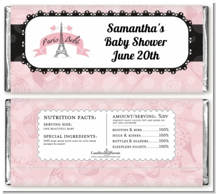 Paris BeBe - Personalized Baby Shower Candy Bar Wrappers