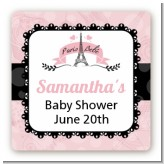 Paris Bebe - Square Personalized Baby Shower Sticker Labels