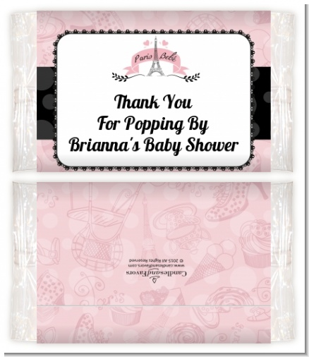 Paris BeBe - Personalized Popcorn Wrapper Baby Shower Favors