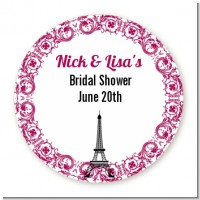 Paris - Round Personalized Bridal Shower Sticker Labels