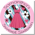 Party Dress | Sweet 16 - Round Personalized Birthday Party Sticker Labels thumbnail
