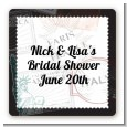 Passport - Square Personalized Bridal Shower Sticker Labels thumbnail