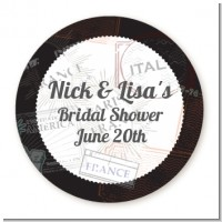 Passport - Round Personalized Bridal Shower Sticker Labels