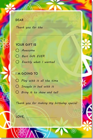 Peace Tie Dye - Birthday Party Fill In Thank You Cards