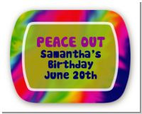 Peace Tie Dye - Personalized Birthday Party Rounded Corner Stickers
