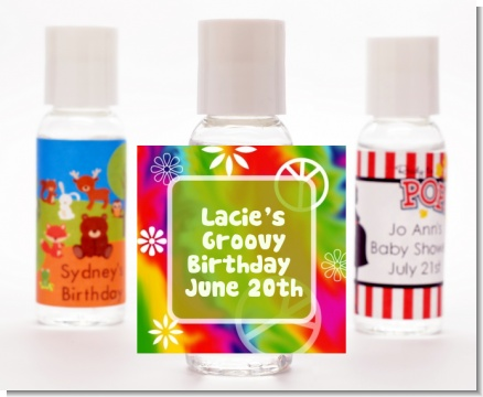 Peace Tie Dye - Personalized Birthday Party Hand Sanitizers Favors