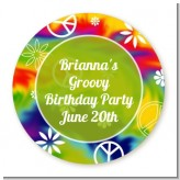 Peace Tie Dye - Round Personalized Birthday Party Sticker Labels