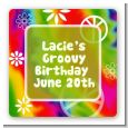 Peace Tie Dye - Square Personalized Birthday Party Sticker Labels thumbnail