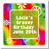 Peace Tie Dye - Square Personalized Birthday Party Sticker Labels