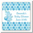 Peacock - Square Personalized Baby Shower Sticker Labels thumbnail