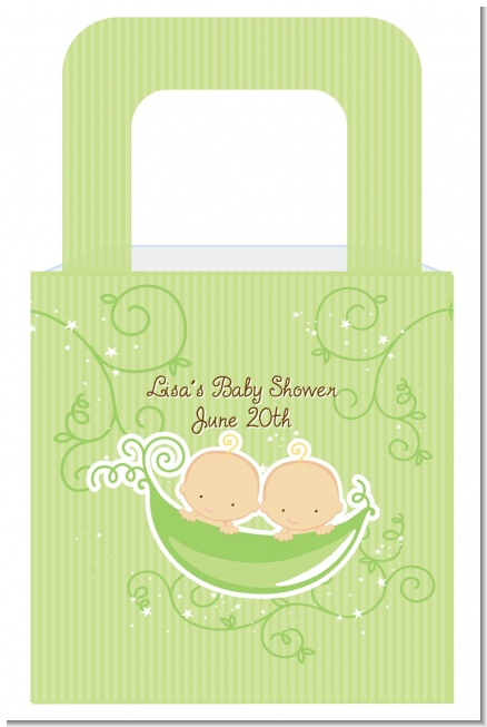 Twins Two Peas in a Pod Caucasian Two Boys - Personalized Baby Shower Favor Boxes