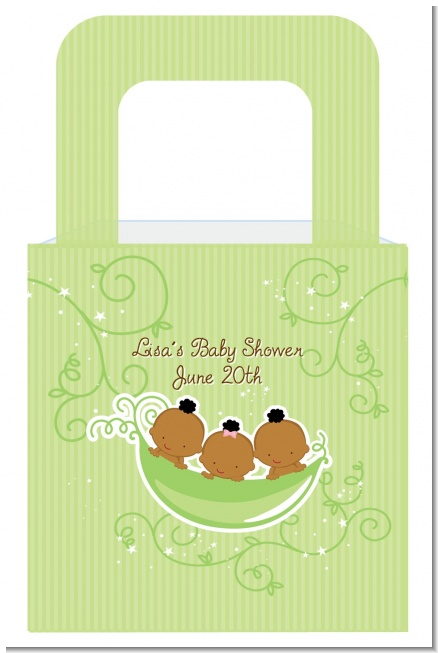 Triplets Three Peas in a Pod African American One Girl Two Boys - Personalized Baby Shower Favor Boxes