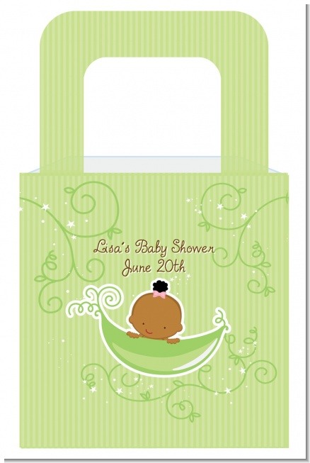 Sweet Pea African American Girl - Personalized Baby Shower Favor Boxes