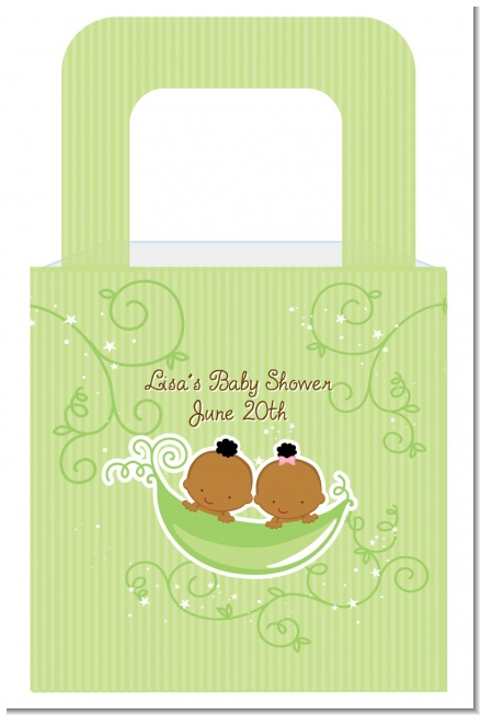 Twins Two Peas in a Pod African American Boy And Girl - Personalized Baby Shower Favor Boxes