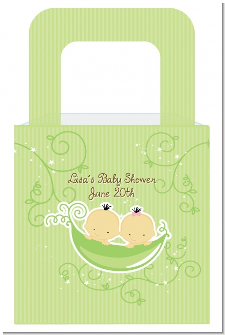 Twins Two Peas in a Pod Asian Boy And Girl - Personalized Baby Shower Favor Boxes