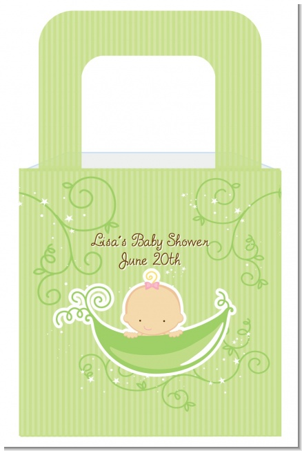 Sweet Pea Caucasian Girl - Personalized Baby Shower Favor Boxes