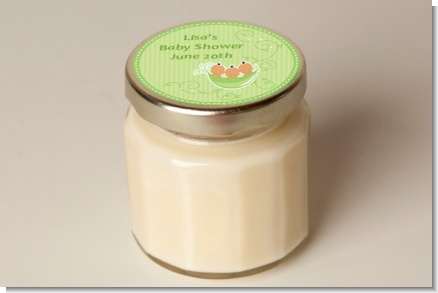 Triplets Three Peas in a Pod Hispanic Three Girls - Baby Shower Personalized Candle Jar