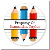 Pencils - Round Personalized School Sticker Labels